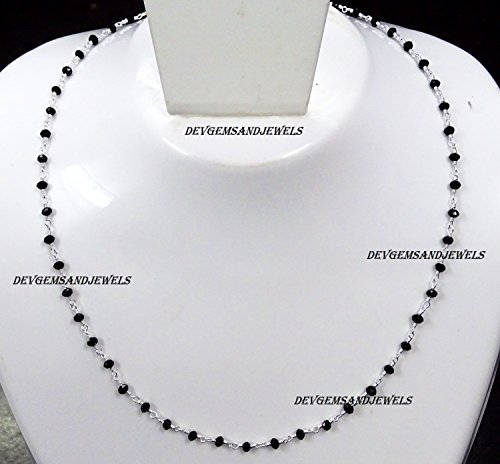 Black Onyx Hydro Choker Necklace Faceted Rondelle 3 - 3.50 mm Beads 925 Silver Plated Wire Wrapped Rosary Vermeil Chain. (14 Inch Choker Length) Black Onyx With Vermeil Necklace