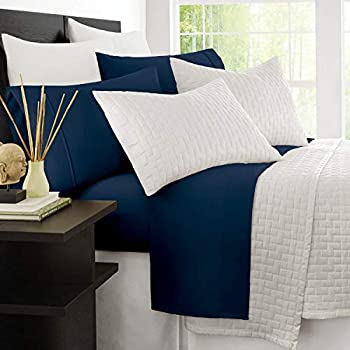 Zen Bamboo 1800 Series Luxury Bed Sheets - Eco-Friendly, Hypoallergenic and Wrinkle Resistant Rayon Derived from Bamboo - 4-Piece - Queen - Navy Blue
