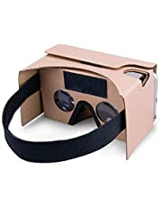 Google Cardboard,Virtual Real Store 3D VR Headset Virtual Reality Glasses Box with Big Clear 3D Optical Lens and Comfortable Head Strap Nose Pad for All 3-5.5 Inch Smartphones(Yellow)
