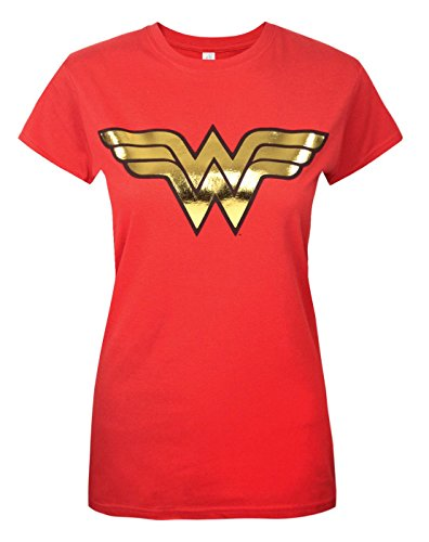 Wonder Woman Gold Logo Ladies T Shirt, Red (X-Large)