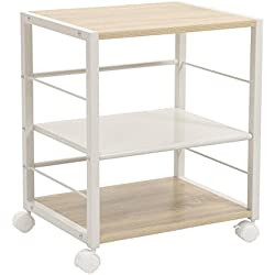 SONGMICS Serving Cart with Lockable Caster Wheels, 3-Tier Rolling Kitchen Cart Utility Storage Rack Organizer for Kitchen Bedroom Living Room, Garage Modern Style, Light Oak & White, ULRC63WN