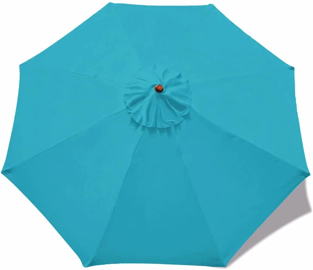 ABCCANOPY 10ft Patio Umbrella Replacement Top Market Table Umbrella Canopy Outdoor Umbrella Canopy with 8 Ribs(Turquoise)