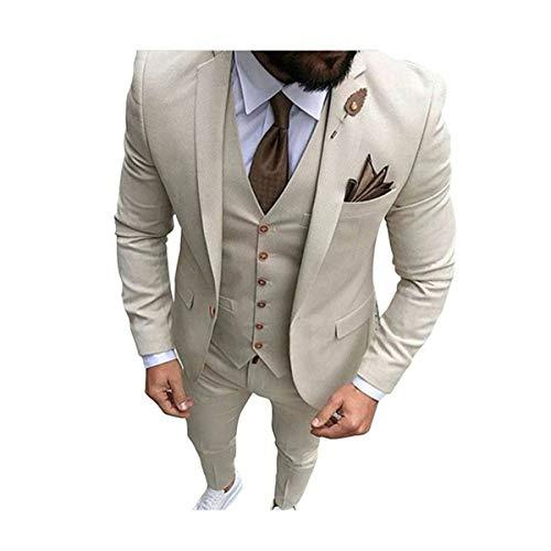 Men Beige Tan Ivory 3-Pieces Tailored Wedding Notch Lapel Tuxedo Groomsmen Men Slim Fit Blazer Pant Vest Suit