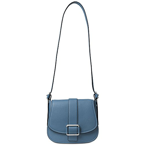 MICHAEL Michael Kors Womens Maxine Leather Shoulder Saddle Handbag Blue Large
