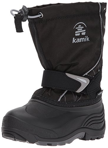 Kamik Children's Snow Boots (Kamik Boys' Sleet2 Snow Boot, Black/Charcoal Print, 7 Medium US Big Kid)