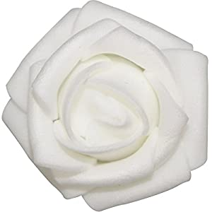 Lightingsky 300pcs 1.7 inch Real Touch Artificial Rose Head, DIY 3D Artificial Flowers for Wedding Bouquets, Room Decoration (White) 3