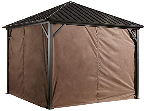 Sojag Accessories Set of 4 10' x 10' Curtains for Dakota Outdoor Gazebo, Brown