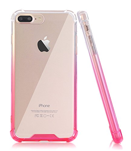 iPhone 7 Plus Case, BAISRKE Slim Clear Hot Pink Gradient Shock Absorption Protective Cases Soft TPU Bumper & Hard Plastic Back Cover for Apple iPhone 7 Plus & iPhone 8 Plus (Hot Pink Rubber Case)