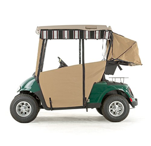 (EZGO RXV Golf Cart PRO-TOURING Sunbrella Track Enclosure - Linen-HR)