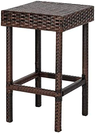 Balleen.E Outdoor Brown Wicker Rattan Bar Stool All-Weather Patio Furniture Chair Set with Footrest Set of 4