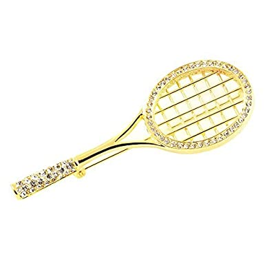 Gold Plated Pin Tennis Racket Crystals Brooch: Amazon.co.uk