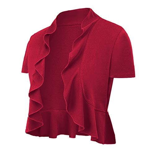UUANG Women's Cropped Cardigan Open Front Knitted Sweater Short Sleeve (Red,S)