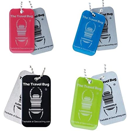 Blue or Pink QR Travel Bug Dog Tag for Geocaching Unactivated Black