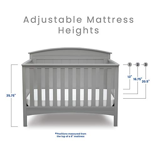 41ULCFlayRL - Delta Children Archer Solid Panel 4-in-1 Convertible Baby Crib, Grey