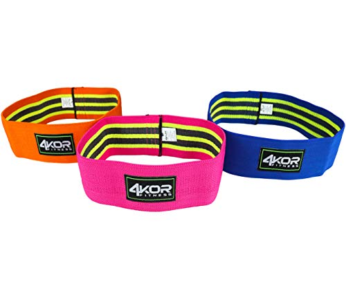 4KOR Fitness Hip Band Resistance Loop Circle Perfect for Dynamic Warm-Ups and Activating Hips and Glutes (3 Piece Grippy Set, All 3- M/L/XL)