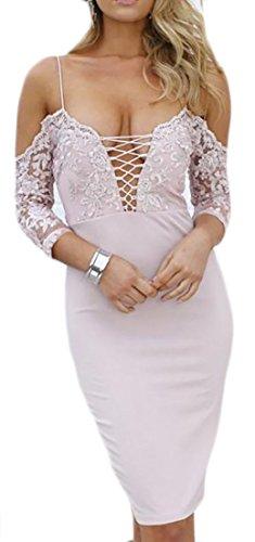 Cromoncent Femmes Bracelet Dentelle Classique Épaule Froid Lacer Rose Robe Moulante