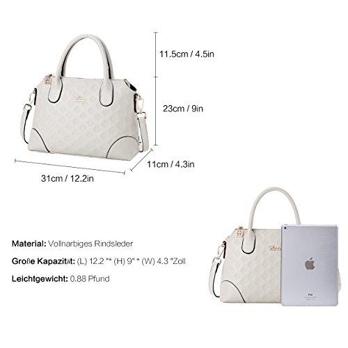 BOYATU Echtes Leder Handtasche für Frauen Business Büro Damen Umhängetasche Top Griff Satchel Tote Weiß 3W7wr