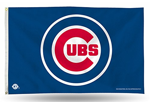 MLB Chicago Cubs Logo (On Blue) 3-Foot by 5-Foot Banner Flag ()