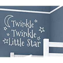 Twinkle Little Star - Girl's or Boy's Room Kids Baby Nursery - Vinyl Saying, Large Wall Lettering Decal, Quote Design Sticker Decoration, Art Decor