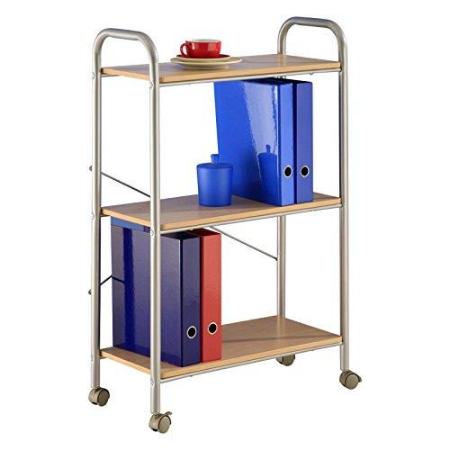 Büroregal Rollwagen Küchenwagen STEP, in buchefarben mit 3 Ablageböden und auf 4 Rollen