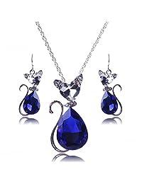 Winson Teardrop Crystal Rhinestone Cute Cat Shape Necklace Earring Set