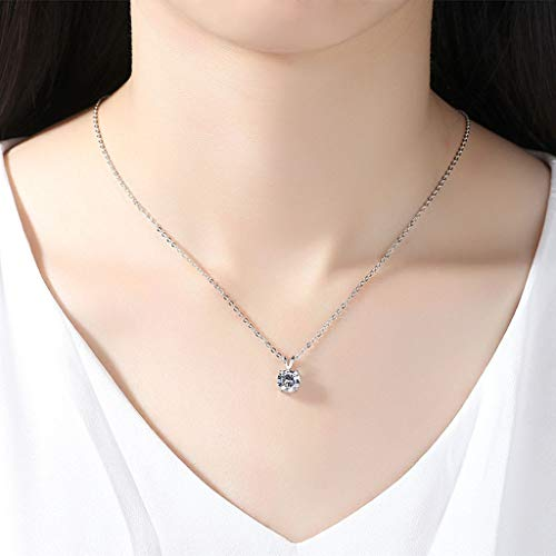 (ChokerWomen Four-Prong Round Zircon Hearts and Arrows Pendant Necklace JewelryJewelry Chain Women Long Gold Sterling Silver Customized Fashion)