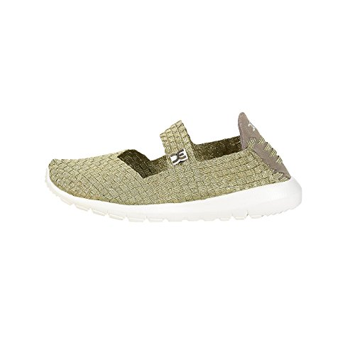 Dude Shoes Womens E-Last Tessa Platin Glitter Mary Jane Beige