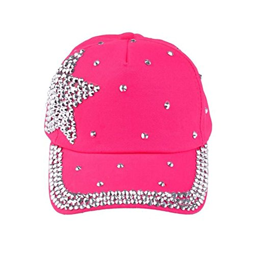 (Funbase Children Outdoor Sports Star Shaped Bling Baseball Hiking Cap Rose Red)