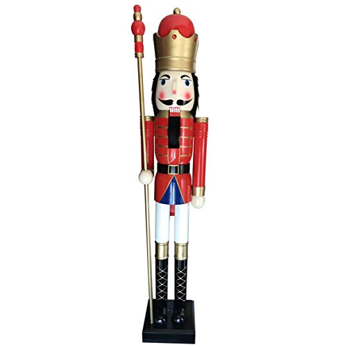 CDL 6ft tall life-size large/giant red Christmas wooden nutcracker king ornament on stand holds golden scepter for indoor outdoor Xmas/event/ceremonies/commercial decoration K20