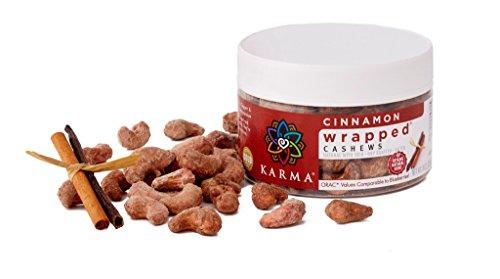 KARMA Premium Wrapped Natural Roasted Whole Cashews, Cinnamon, 8 Ounce