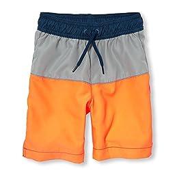 The Children\'s Place Big Boys\' Swim Short Trunks, Orange Splash, L (10/12)