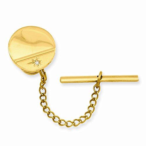 Gold-plated.01 Ct. Diamond Polished Florentined Tie Tack - JewelryWeb