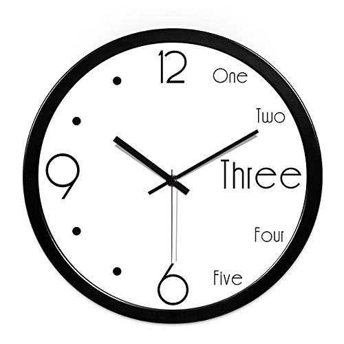 FortuneVin Wall Clock Non-Ticking Number Quartz Wall Clock Living Room Decorative Indoor Clock Bedroom Clock Kitchen Clock Math Student Clocks Wall Table Black-Black Metal Box14 India .35Cm,10 In,01 by FortuneVin (Image #1)