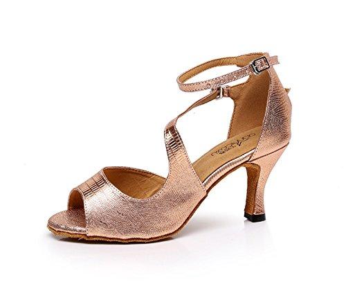 TMKOO Zapatos de Baile Latino Para Mujer/Zapatos de Baile de Cuero/Zapatos de Baile de Tacón Alto/Zapatos de Baile de Suela Suave Rose Gold
