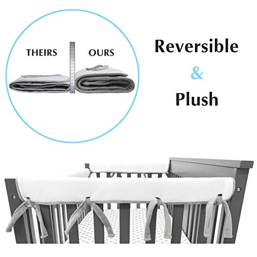 """American Baby Company 2 Pack Heavenly Soft Chenille Reversible Crib Rail Cover for Side Rails, Gray/White, Narrow for Rails Measuring up to 8"""" Around"""