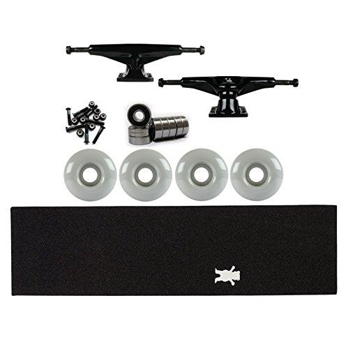 ランダム食用手錠テンソルSkateboard TrucksキットマグネシウムブラックGrizzly Bearグリップ、軸受、ホイール