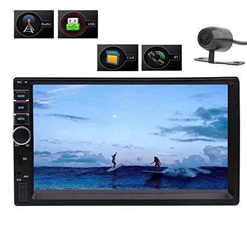 Best 7 Inch HD Touch Screen Double Din in-Dash Car Stereo MP5 Player Audio Video Multimedia Player Support Bluetooth GPS FM Radio Aux-in USB TF SWC with Wireless Remote Control and Rear Camera