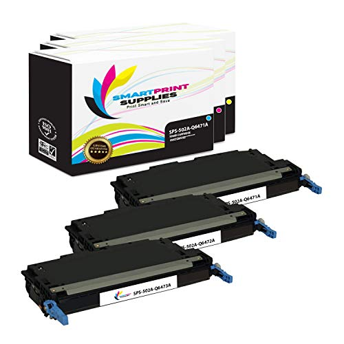 Smart Print Supplies Compatible 502A Toner Cartridge Replacement for HP Color Laserjet 3600 3800 CP3505 Printers (Q6471A Cyan, Q6473A Magenta, Q6472A Yellow) - 3 Pack