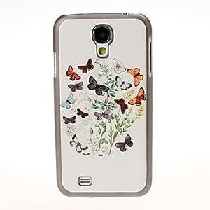 CECT STOCK Patrón de flores de la mariposa Negro duro caso para cubrir i9500 Samsung Galaxy S4
