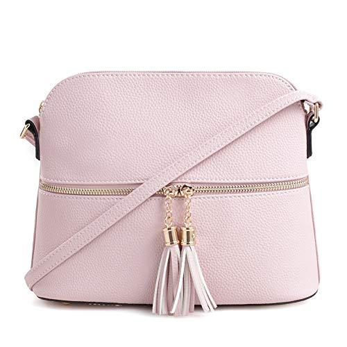 (SG SUGU Lightweight Medium Dome Crossbody Bag with Tassel | Zipper Pocket | Adjustable Strap (Blush))