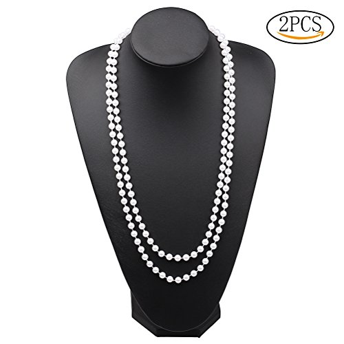 SUMAJU Women Pearl Necklace, Elegant Lady Long Double-row White Faux Pearls Flapper Beaded Necklace Sweater Necklace Jewelry