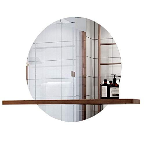 SDK Mirror Round Wall Hanging Bathroom Mirror with Shelf Glass Panel Vanity -