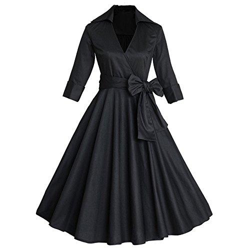 d41a8ea96af ZAFUL Women 1950s Vintage Dress Short Sleeve V Neck Floral Print Swing  Party Dress