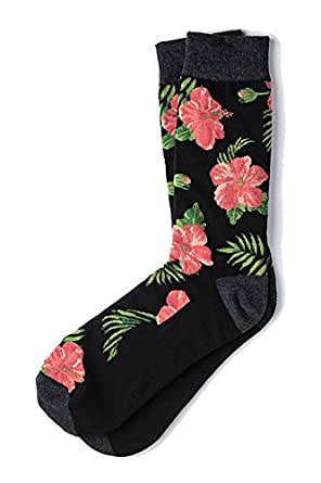 Men's Tropical Island Hibiscus Floral Flowers Crew Dress Socks (Black)
