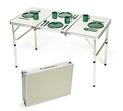 Trademark Innovations Portable Adjustable Lightweight  Aluminum Folding (Mdf Rectangular Table)