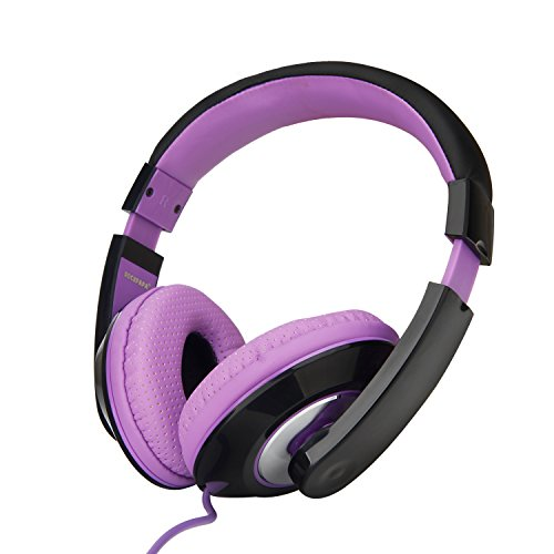 RockPapa Over Ear Stereo Headphones Earphones for Adults Kids Childs, Noise Isolating, Adjustable, Heavy Deep Bass for iPhone iPod iPad Macbook Surface MP3 DVD SmartPhones Laptop (Black/Purple)