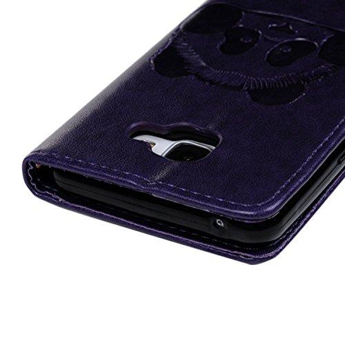 Funda Piel Resistente Samsung J5 2015 , We Love Case Carcasa para Samsung Galaxy J5 2015 Diseño Patrón Animal Panda Funda Tapa Case Flip Cover Book Style Billetera Cuero con Ranuras para Tarjetas y Fu Violeta