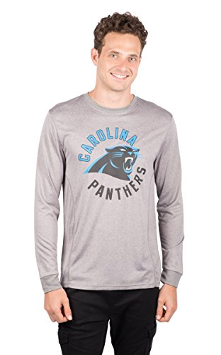 ICER Brands NFL Carolina Panthers T-Shirt Athletic Quick Dry Long Sleeve Tee Shirt, X-Large, Gray