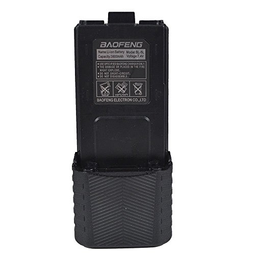 Replacement Battery for UV-5R (Model: BL-5, 3800 mAh, Black) Compatible with Baofeng UV-5R F8HP 5RTP and 5R Series Walkie Talkies(1 Pack) by LUITON by LUITON