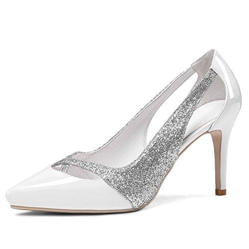 Lentejuelas para Seven con de Vestir Tacones Cuero Moda Mujer blanco Aguja Nine Puntiagudos de 186wq